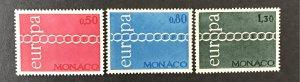 Monaco 1971 #797-9, MNH, CV $15