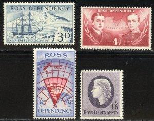 Ross Dependency Scott L1-L4 MNHOG - 1957 First Issue - SCV $12.00