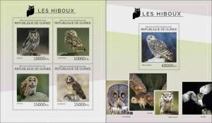 Guinea 2014 birds of prey owls klb+s/s MNH