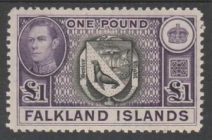 FALKLAND ISLANDS 1938 KGVI ARMS 1 POUND TOP VALUE