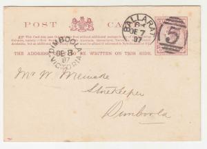 VICTORIA, Postal Card, 1887 1d. Brown, BALLARAT 5 duplex to Dimboola.
