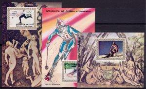 Equatorial Guinea 1976 Mi#Bl.A216/C216 INSBRUCK OLYMPIC '76 NUDES PTGS 3 SS MNH