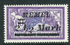 MEMEL; 1922 early surcharged issue Mint hinged 2.5M. value
