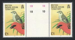 BIOT Madagascar Red Fody Bird 1v £1 Gutter Pair SG#101