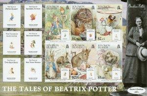 Solomon Isl 2006 MNH Beatrix Potter Peter Rabbit 6v M/S Owls Hedgehogs Stamps