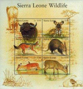 Sierra Leone MNH S/S Wildlife Animals 6 Stamps