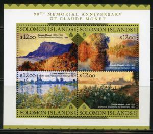 SOLOMON ISLANDS  2016  90th MEMORIAL ANNIVERSARY CLAUDE MONET SHEET  MINT NH