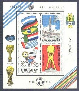 URUGUAY 1980 FOOTBALL SOCCER GOLD CUP FLAG S/SHEET BL YV 37 Mi 50 MNH