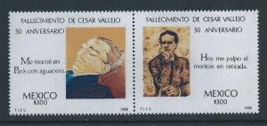 Mexico #1542-3 NH Cesar Vallejo, Poet - Death Anniv.