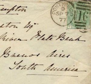 GB WALES ARGENTINA MAIL 1877 *Pontypridd* 1s Plate 12 Cover SG.150 c£240+ D124c