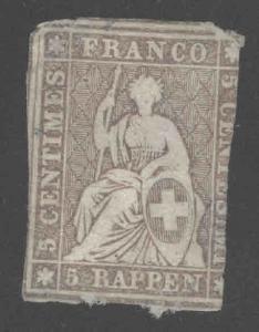 Switzerland Scott 24 Used 1855 Strubel seated Helvetia yellow silk thread