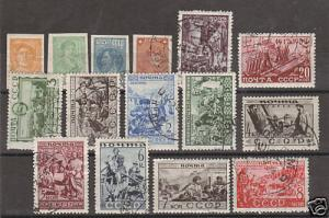 Russia Sc 456/97 used 1929-33 issues, 16 diff. F-VF
