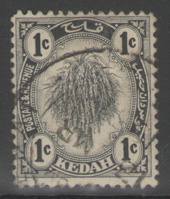 MALAYA KEDAH SG52 1922 1c BLACK FINE USED