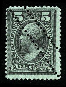 B285 U.S. Revenue Scott RB16b 5-cent Proprietary wmk, freak perfs, SCV = $125