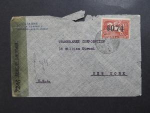 Uruguay 1945 Censor Cover to USA / Small Tears - Z8137