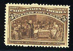 UNITED STATES SCOTT#234 5C COLUMBIAN MINT NEVER HINGED