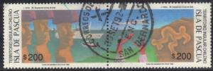 CHILE SC# 511 A&B  USED CONNECTED PAIR  1992 200p EASTER ISLAND SEE SCAN