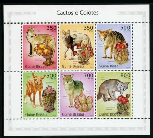 Guinea-Bissau MNH S/S Coyotes & Cactus 2010 6 Stamps