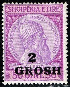 ALBANIA STAMP 1914 Skanderbeg Issue of 1913 Surcharged 2 GROSH