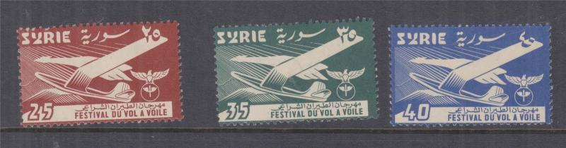 SYRIA, 1957 Gliding Festival set of 3, mnh.