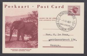 South Africa H&G 42-1 postcard 1964 BONTEBOK PARK cancel, Kruger Park, Elephant