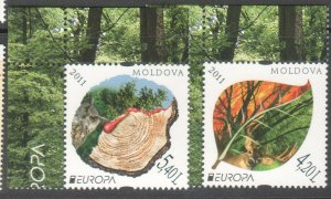 EUROPA CEPT MOLDOVA 2010 FORESTS SET OF 2 WITH CORNERS R2021191
