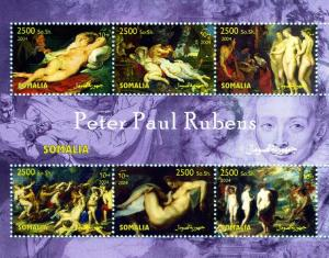 Somalia 2004 Peter Paul RUBENS Nudes Paintings Sheet (6) Perforated Mint (NH)