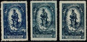 LIECHTENSTEIN - 1920 - Mi.42 three examples in different shades - Mint**