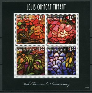 Micronesia Art Stamps 2013 MNH Louis Comfort Tiffany Stained Glass 4v M/S