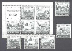 Montserrat 989-93,989a MNH Dogs SCV20