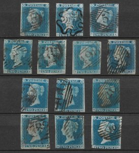 Doyle's_Stamps: British 2p Blue Imperf of 13 Stamps; Scott #4, cv $1,170.00