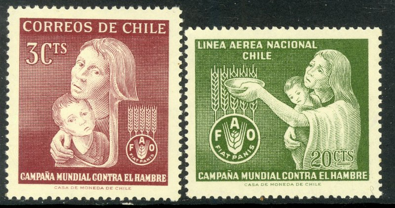 CHILE 1963 FAO FREEDOM FROM HUNGER Set Sc 342,C248 MLH