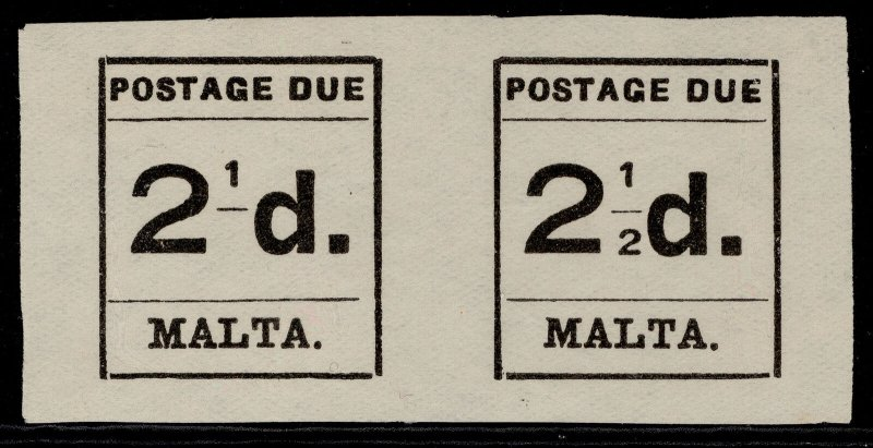 MALTA GV SG D5a, 2½d black, UNUSED. Cat £900. 2' of '½' OMITTED