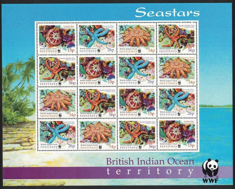 BIOT WWF Sea Stars 4v Sheetlet of 4 sets SG#253-256 MI#266-269 SC#231-234 SALE