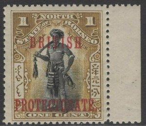NORTH BORNEO SG127 1901 1c BLACK & BISTRE-BROWN p13½-14 MTD MINT