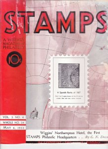Stamps Weekly Magazine of Philately May 6, 1933 Stamp Collecting Magazine