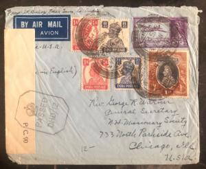 1943 Kolar India Airmail Censored Cover To Chicago IL USA