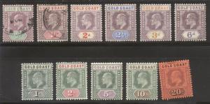 GOLD COAST #38-48 Most Mint - 1902 K E VII Set, Wmk 2