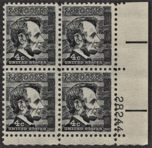 US 1282 MNH VF 4 Cent Abraham Lincoln Plate Block # 28244