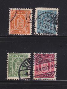 Denmark O11, O13-O15 U Official Stamps