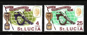 St Lucia-Sc#207-8-unused hinged Omnibus set-Sports-Soccer World Cup-1966-