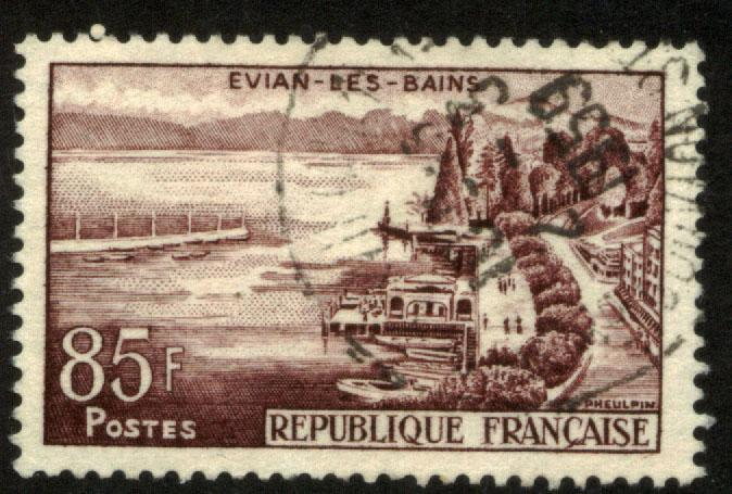 France 908, 85F Evian les Bains. Used. (188)