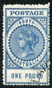SOUTH AUSTRALIA SG292a 1904 One Pound Blue Thick POSTAGE perf 12.5 Corner CDS