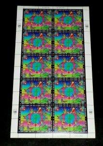 U.N. NEW YORK #608a, 1992 PETER MAX, EARTH SUMMIT, MNH, PANE/40 NICE! LQQK!