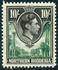 NORTHERN RHODESIA-1938-52 10/- Green & Black Sg 44 LIGHTLY MOUNTED MINT V48312