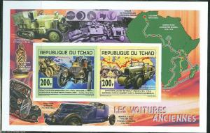 CHAD 2014   OLD OR ANCIENT MOTOR  CARS COLLECTIVE SHEET OF TWO IMPERF MINT NH