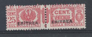 Eritrea 1927 Parcel post 25c um pair 1 short perf sgP124 c£375