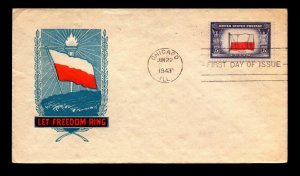 US SC# 909 FDC / IOOR Cachet / Appears UA / Chicago CDS - L12114