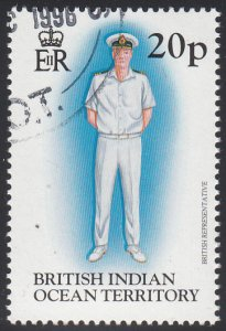 BIOT 1996 used Sc #185 20p British Representative Uniforms
