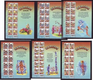 Guernsey-Sc#756-61-six unused NH Europa sheets-Circus-Acrobats-2002-